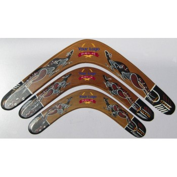 Promotional Returning Boomerang with Aboriginal Art, 18 in, plywood